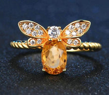 Load image into Gallery viewer, Citrine Oval Bee Ring - Hanna Rings