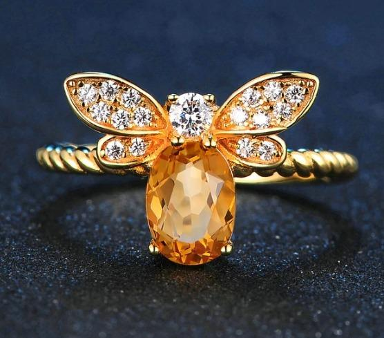 Citrine Oval Bee Ring - Hanna Rings