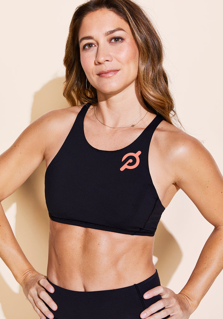 Peloton Free to Be High Neck Bra (Coral Logo)