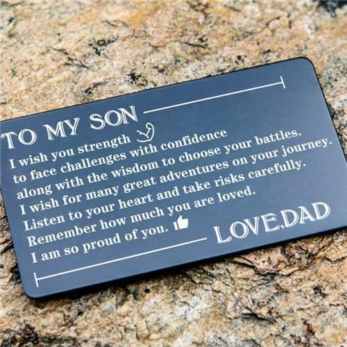 Dad To Son - Listen To Your Heart - Engraved Wallet Card