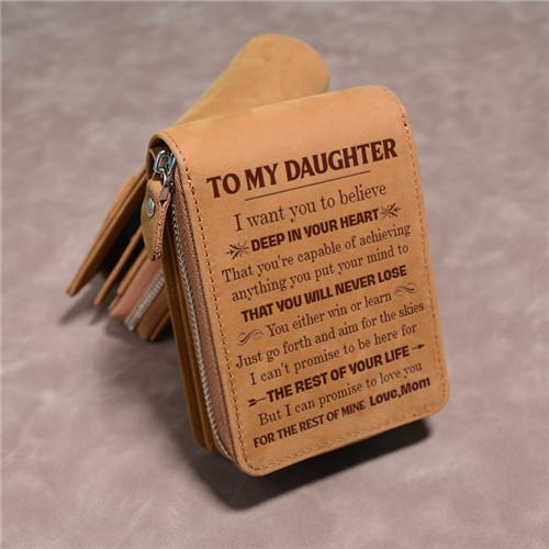 Mom To Daughter - You Will Never Lose - Card Holder Zipper Wallet