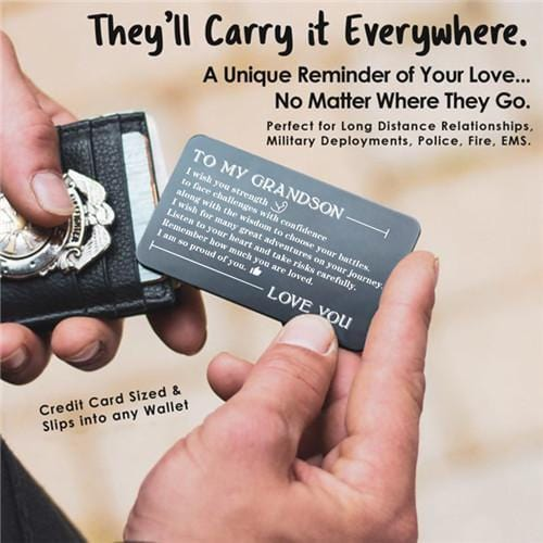 To My Grandson - Listen To Your Heart - Engraved Wallet Card