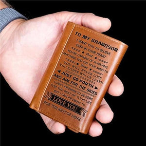 To My Grandson - Never Lose- Genuine Premium Leather Wallet