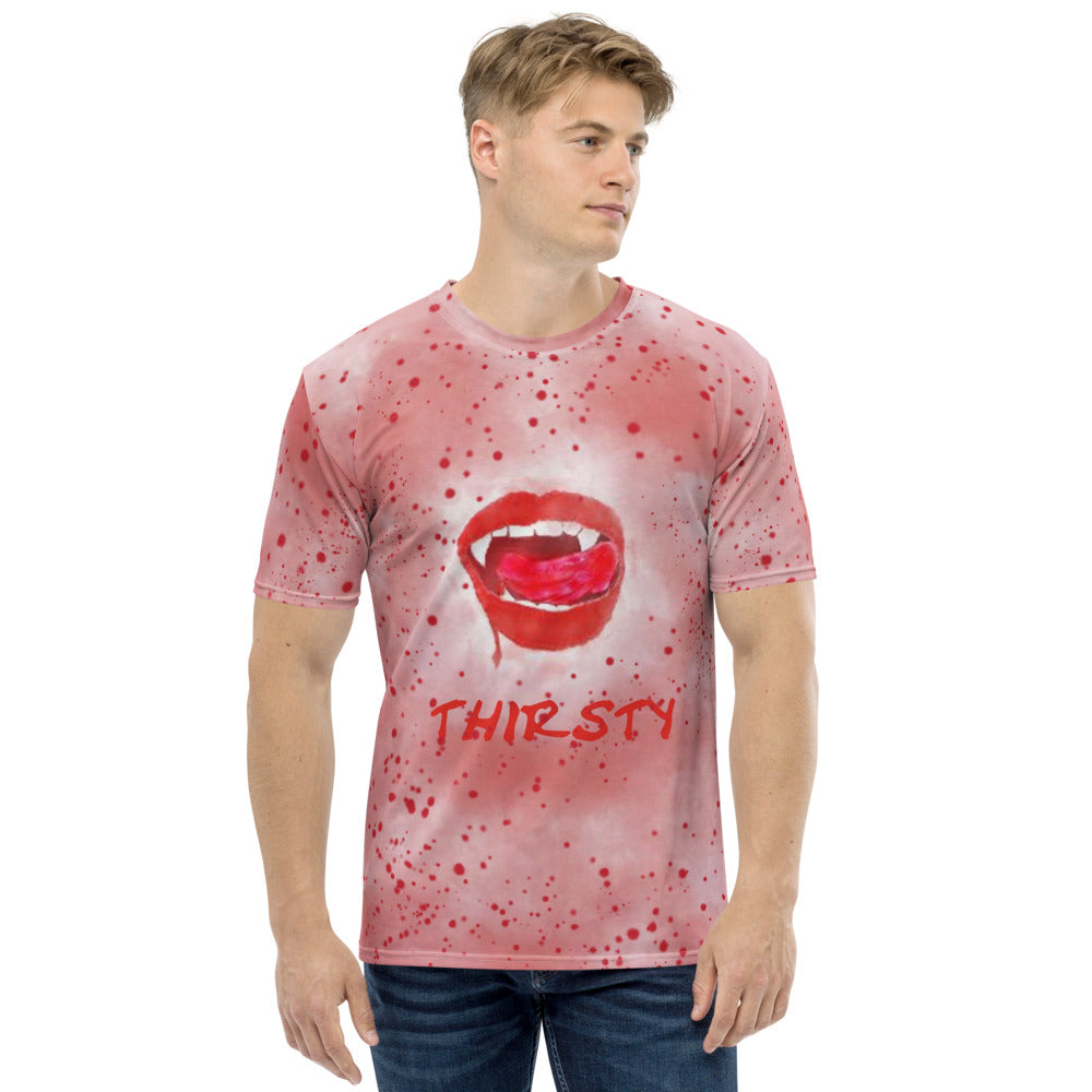 New! Thirsty Vampire Lips T-shirt With Blood Splatter Unisex