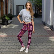 Load image into Gallery viewer, pretty women smiling wearing nova jade leggings with cosmic print