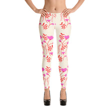 Load image into Gallery viewer, pink and red floral print yoga pants