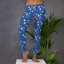 Load image into Gallery viewer, NEW! Nova Jade Red White And Blue Leggings With Stars For Women