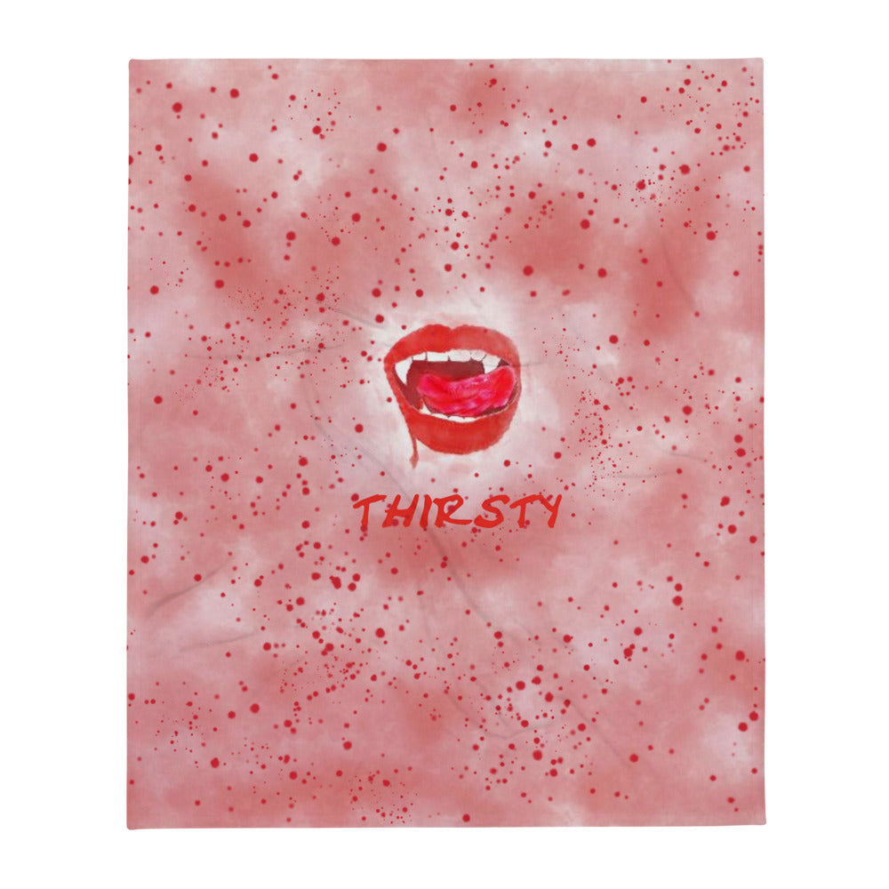 Thirsty Vampire Lips Throw Blanket With Blood Splatter