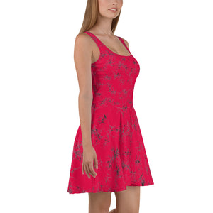 Hot Pink Crinkle Skater Dress
