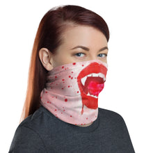 Load image into Gallery viewer, Thirsty Vampire Lips Neck Gaiter With Blood Splatter
