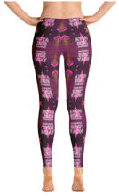 Load image into Gallery viewer, back side of women's yoga pants with cosmic pattern