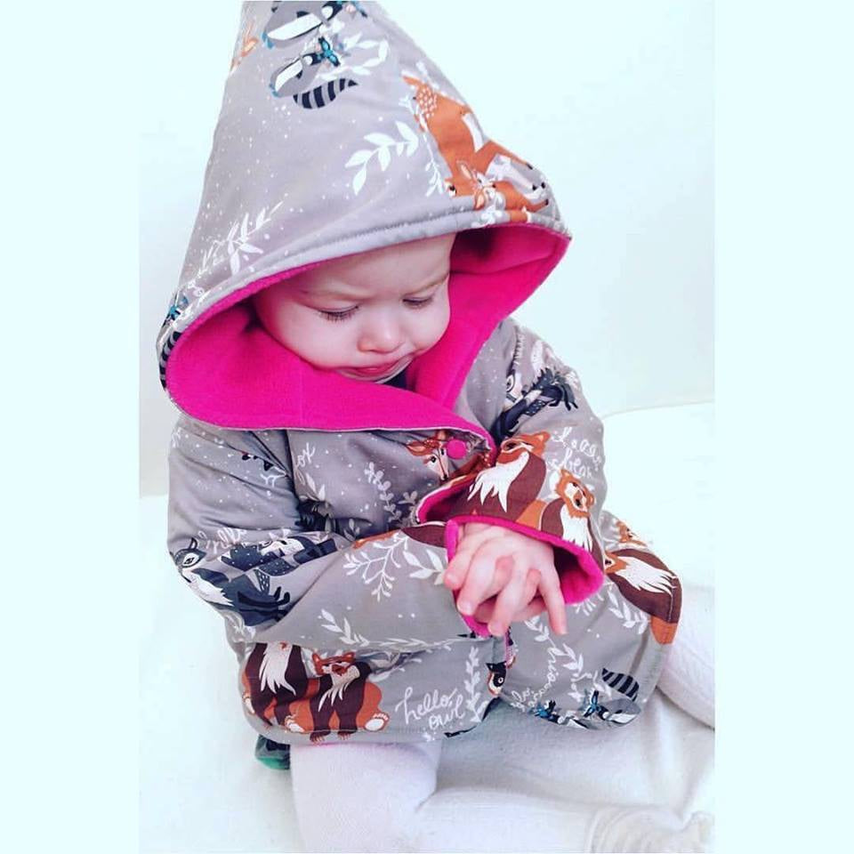 baby girl wearing cerise hello bear charlie jacket