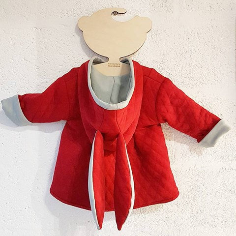 red and grey bunny jacket handmade in the Uk