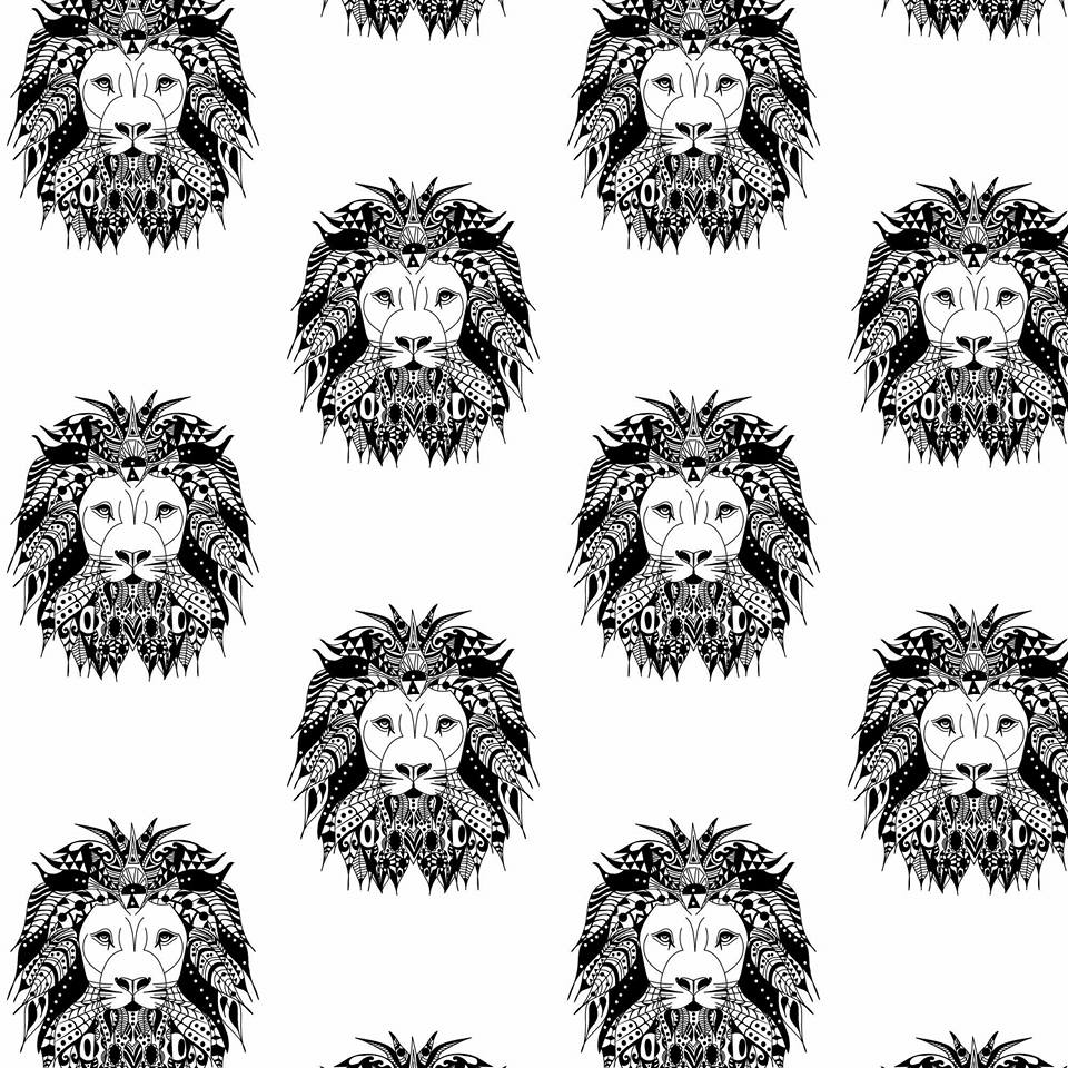 Exclusive Aztec Lion Monochrome printed organic jersey fabric