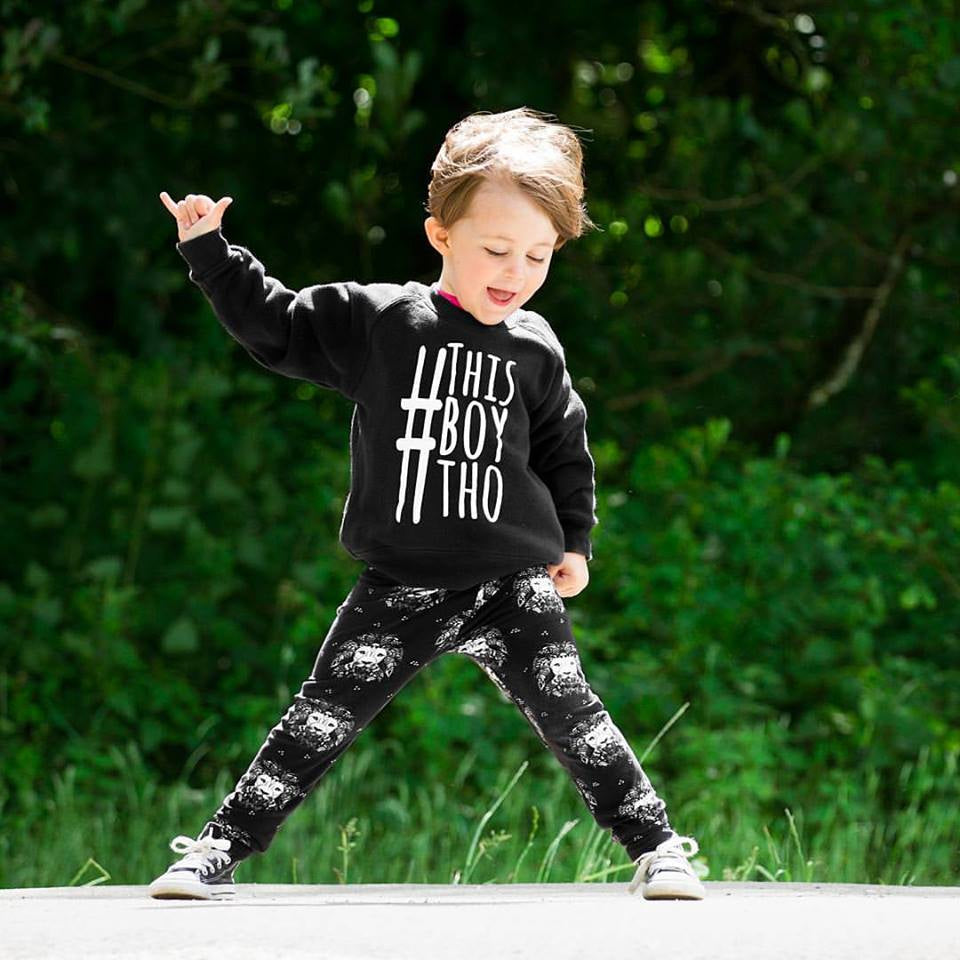 lottie & lysh lion noir monochrome baby and toddler leggings styled with a #thisboytho sweatshirt