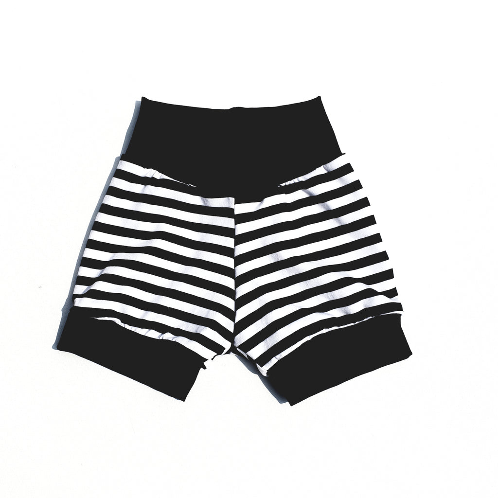 monochrome black and white stripe cuff shorts for babies and toddlers by lottie & lysh