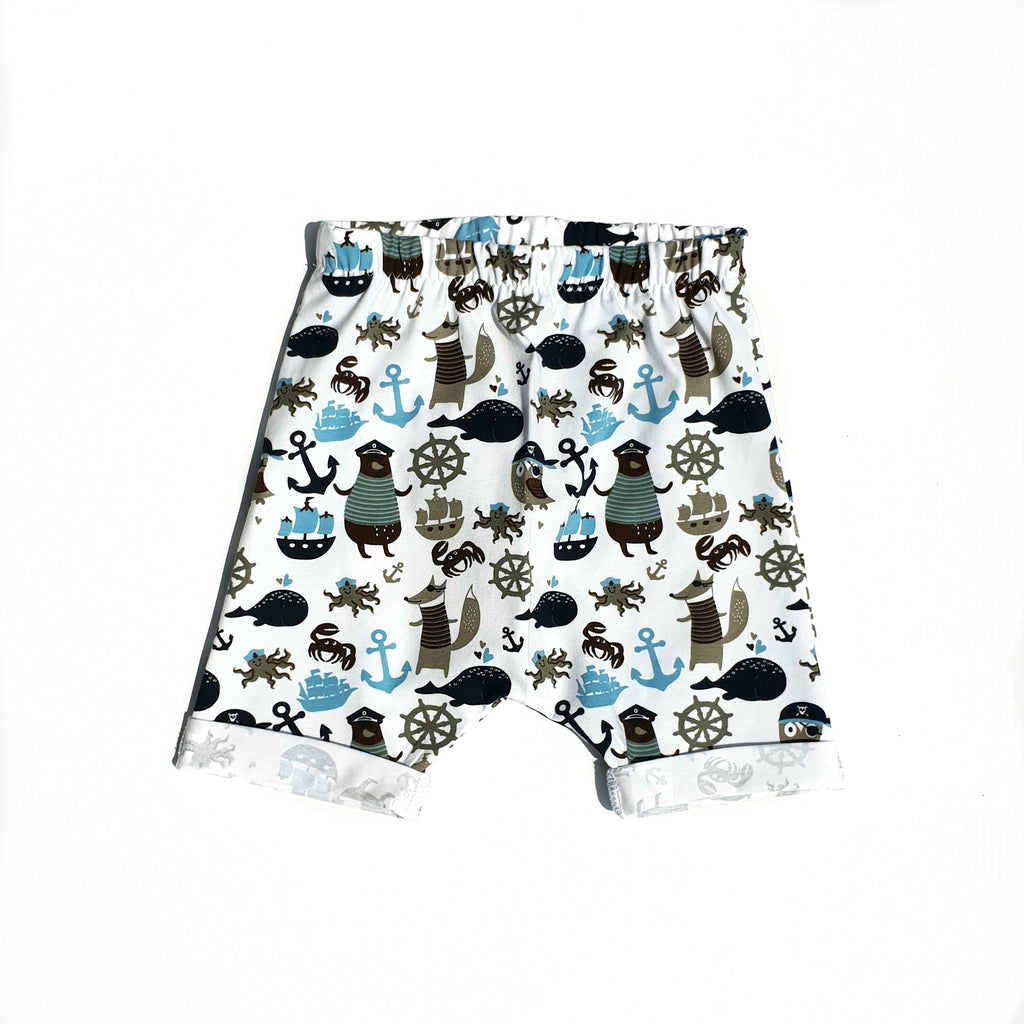 pirate themed printed shorts for babies and toddlers by lottie & lysh