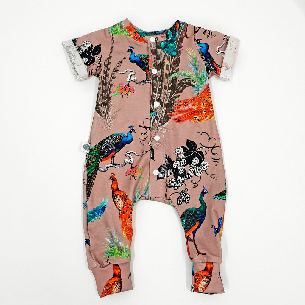 Peacocks printed baby onsie with front opening poppers
