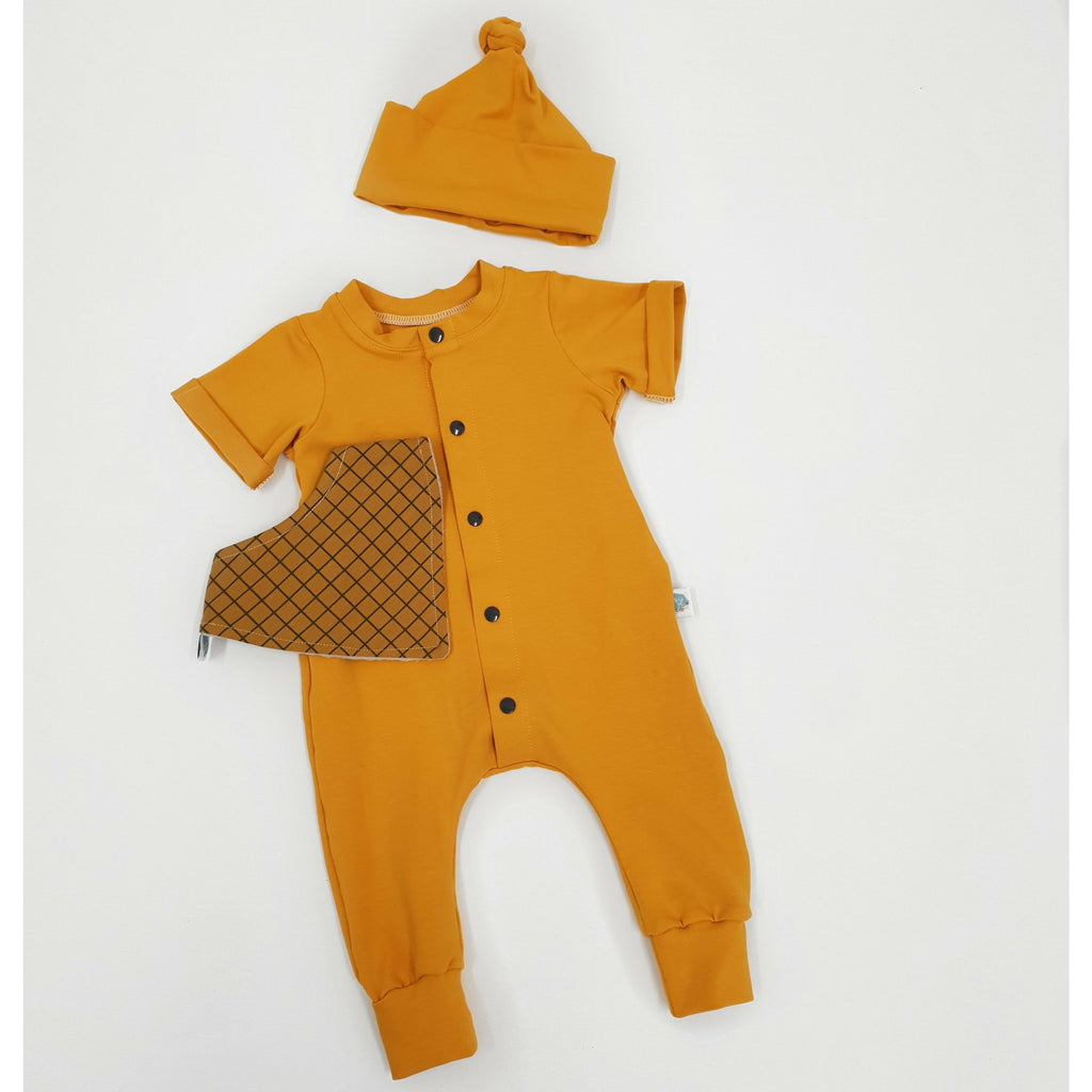 Mustard handmade baby and toddler romper by lottie & lysh