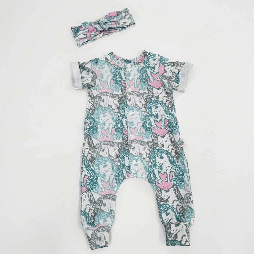 unicorn print baby clothing handmade in the uk