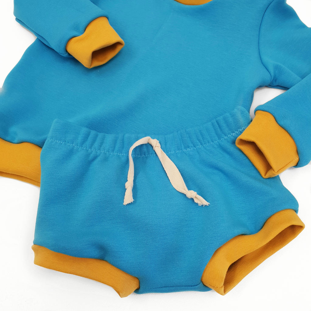 baby and toddler bummies shorts in blue by lottie and lysh