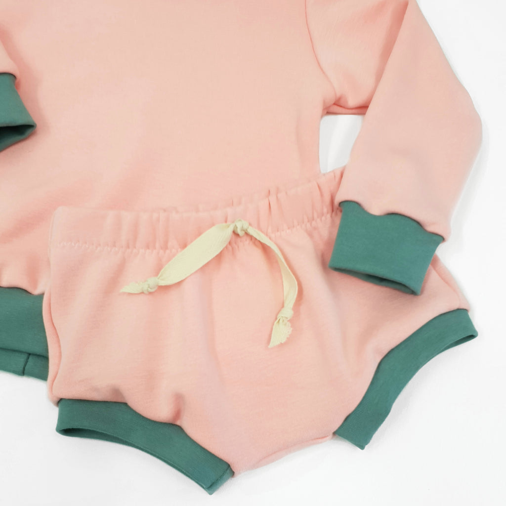 pink and olive bummies baby and toddler shorts by lottie and lysh