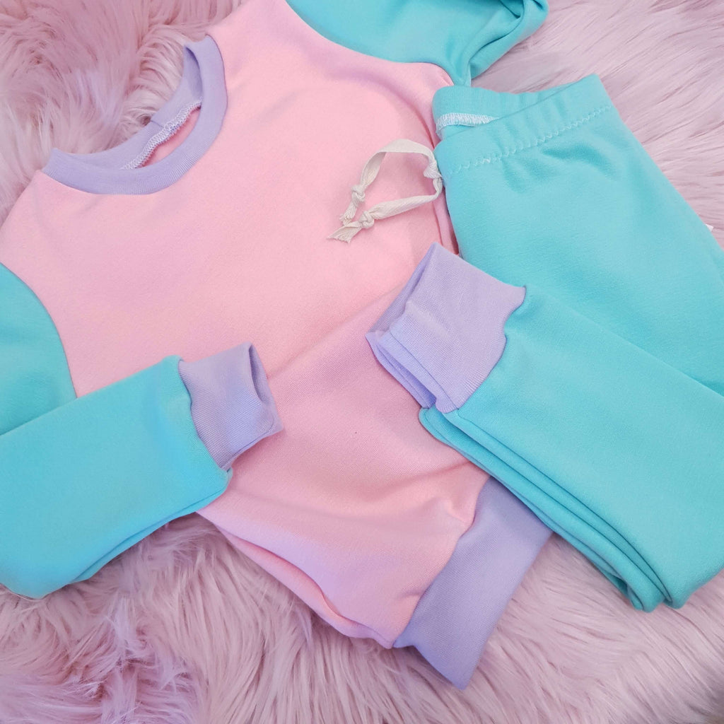 Pink and Mint retro inspired tracksuit for babies and toddlers by lottie & lysh