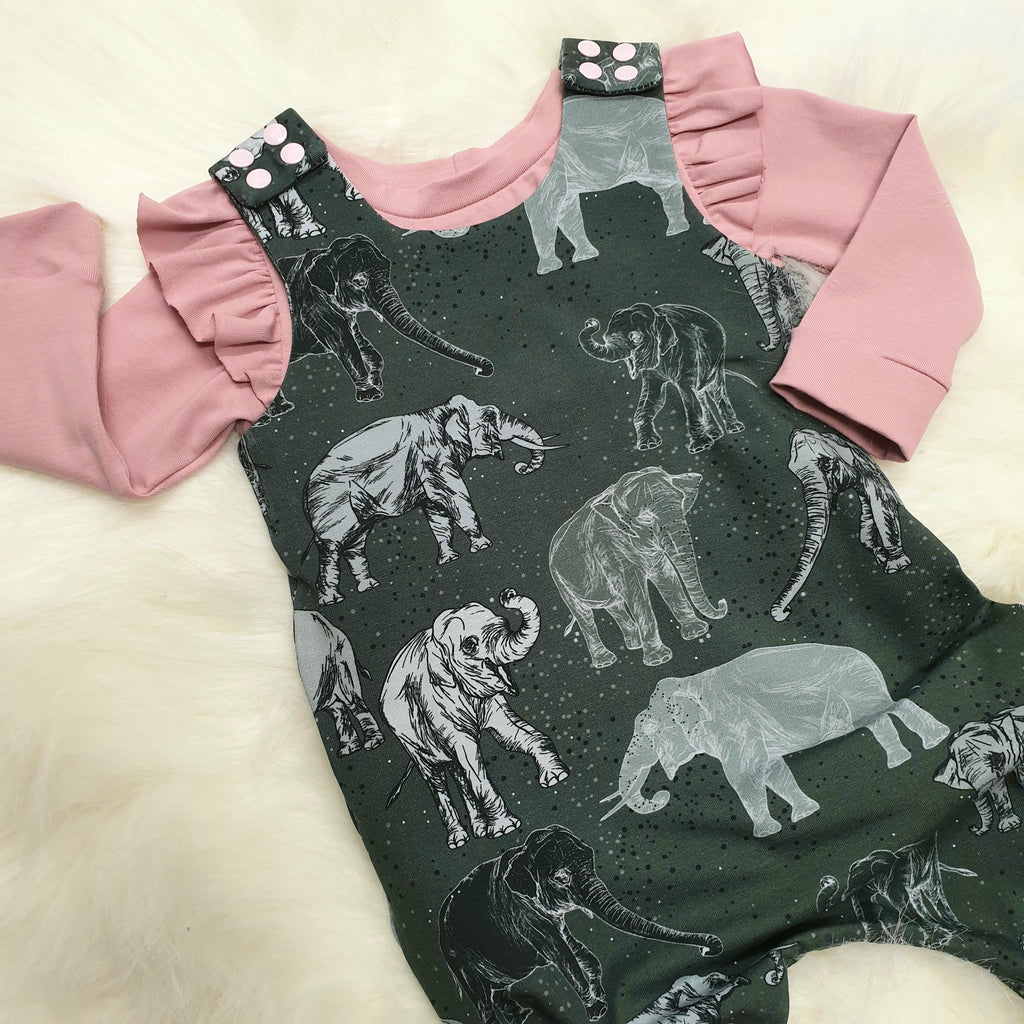organic baby romper in elephants
