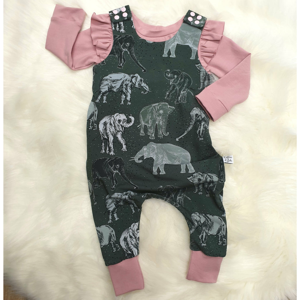 Organic elephant print child and baby dungarees