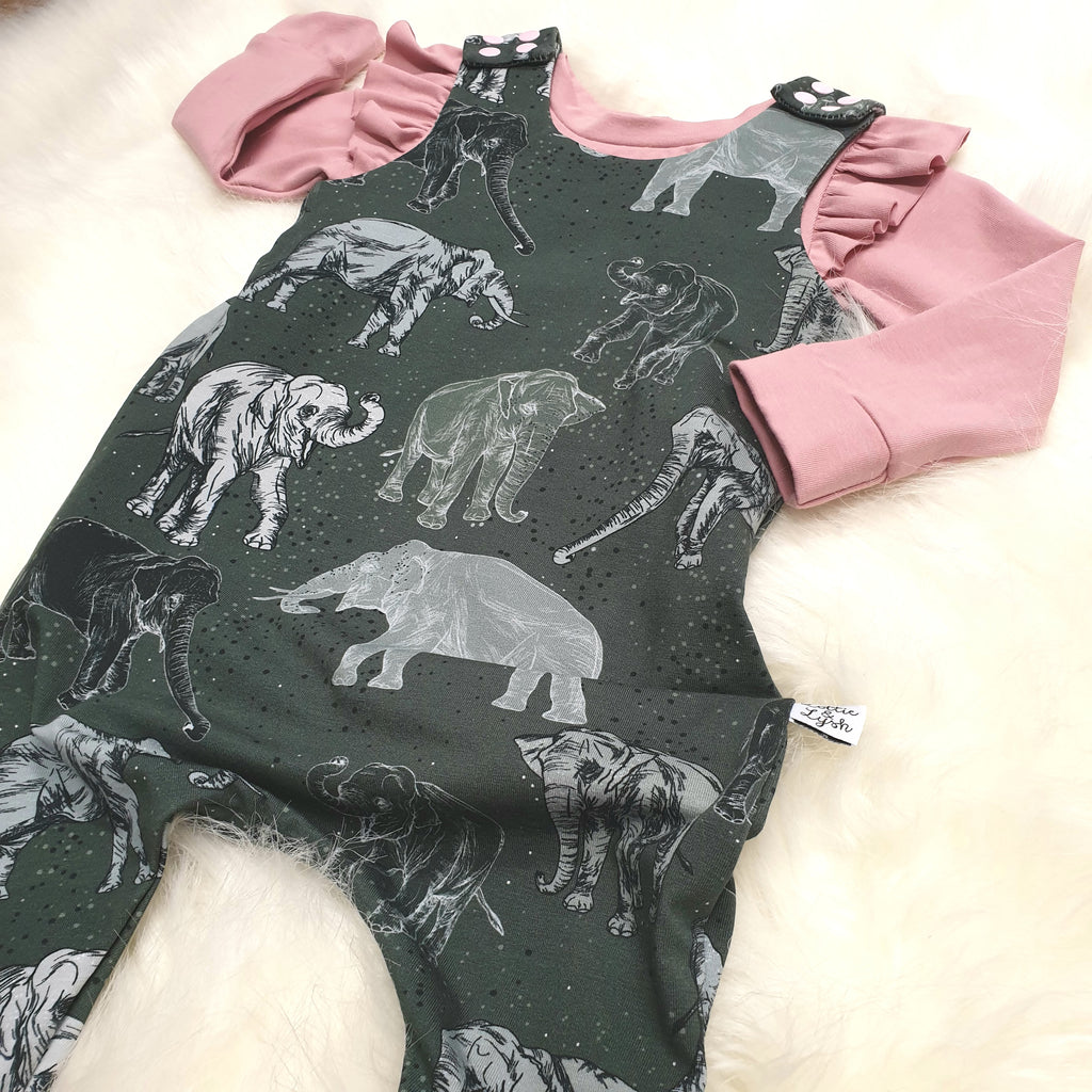 organic toddler romper in elephants