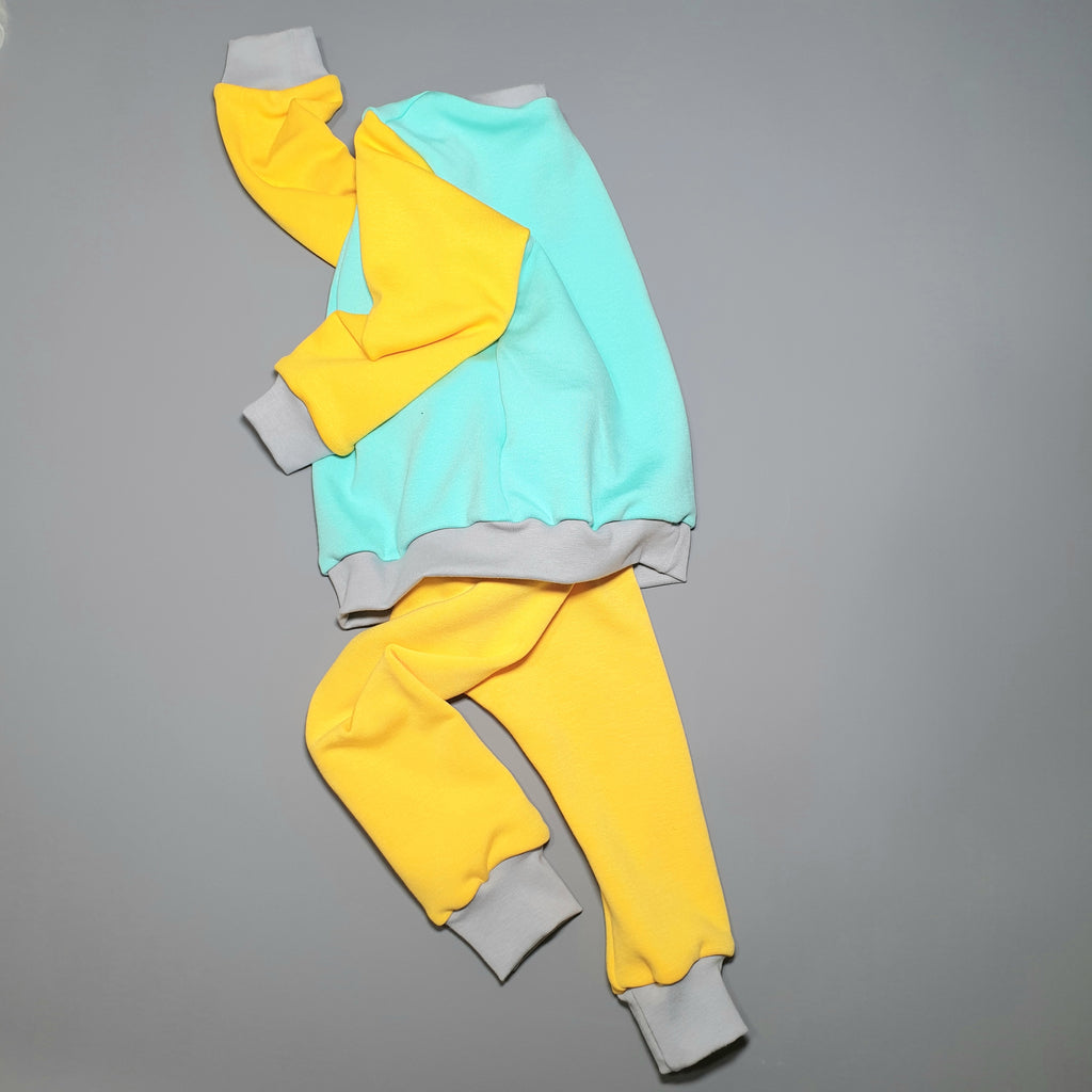 Retro ColourBlok Mint & Yellow Loungewear