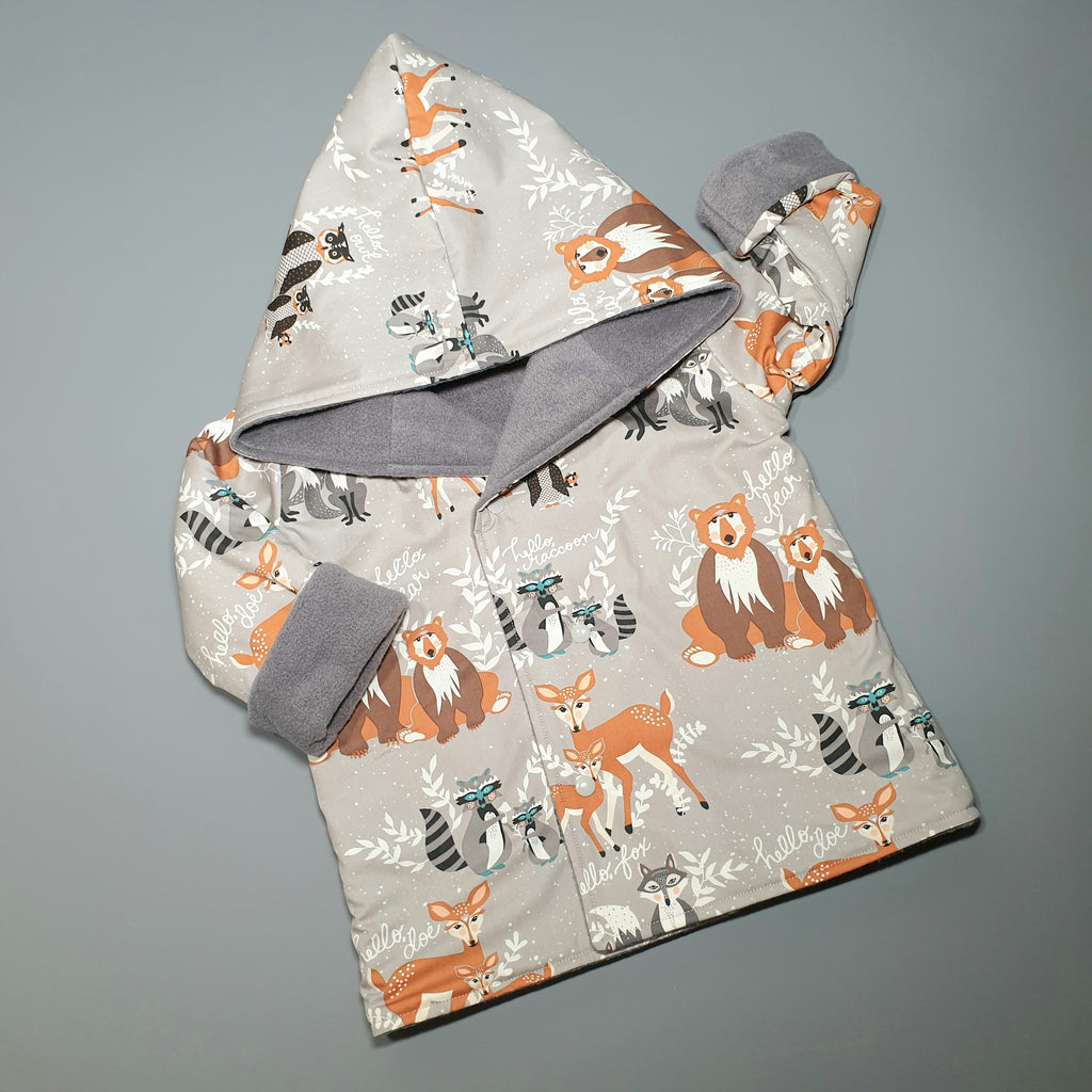 Reversible Toddler & Baby Jacket | Hello Bear & Grey