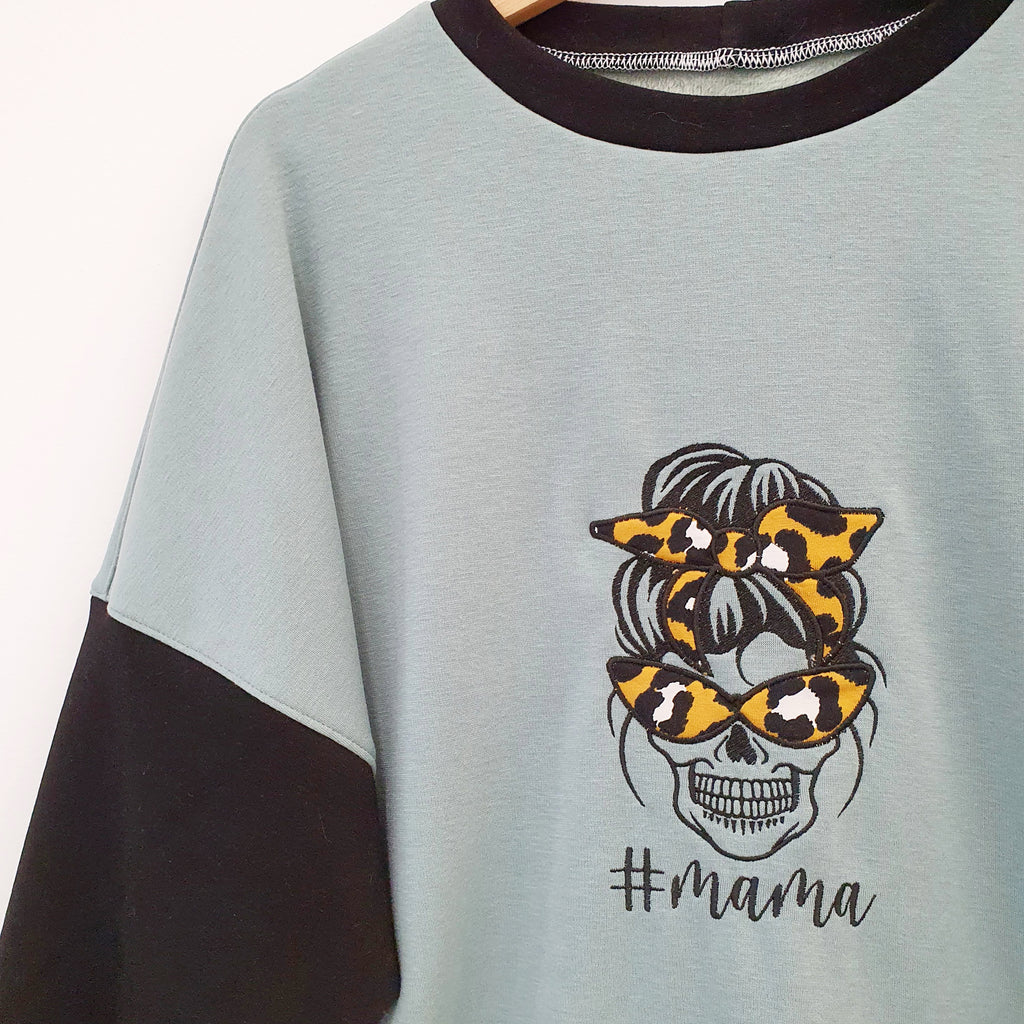 Skull embroidery mama sweat shirt