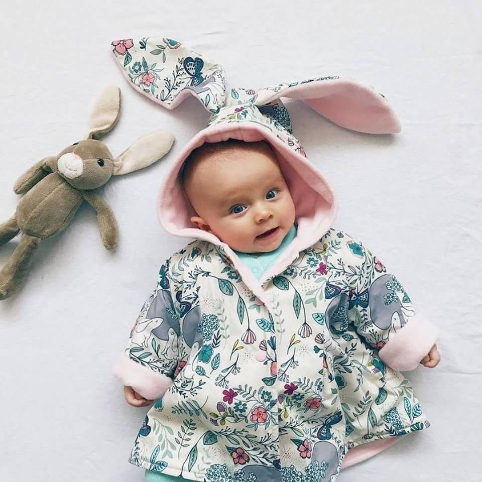 baby girl wearing lottie and lysh spring scents bunny jacket