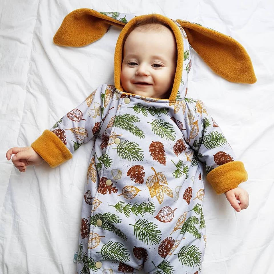 Festive Leaves Reversible Baby Pramsuit. Ethical kids and baby fashion made in the UK