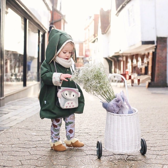 Toddler girls bunny jacket in green wool and floral. Handmade in the UK by Lottie & Lysh
