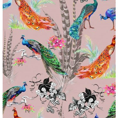 dusty peacocks printed jersey fabric