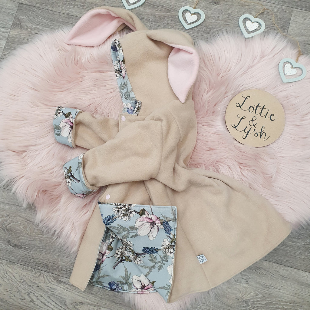 Beige and floral bonnie bunny jacket by lottie & lysh