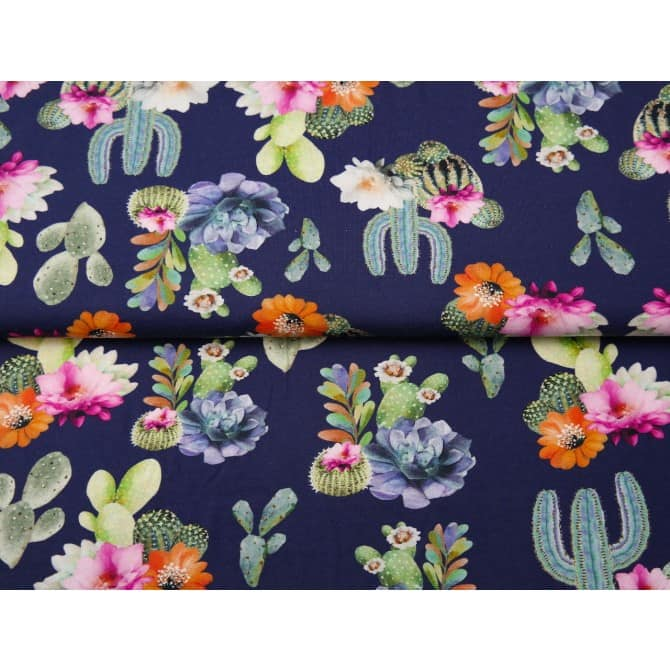 navy cactus jersey fabric by lottie and lysh