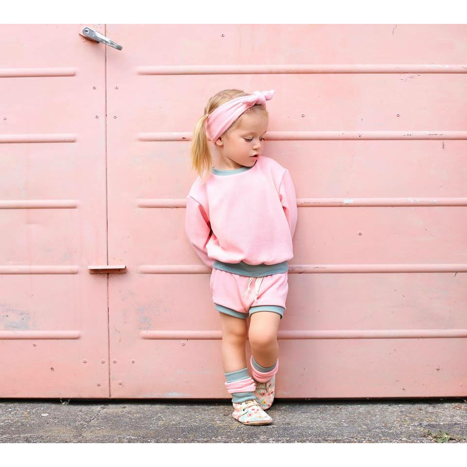 retro colourblok collection loungwear pink and olive sweatshirt and bummies set
