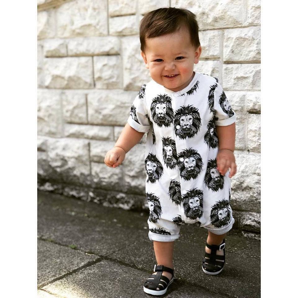 Unisex organic baby romper in Aztec Lion by Lottie & Lysh