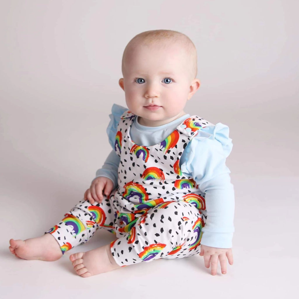organic rainbow dungarees by lottie & lysh