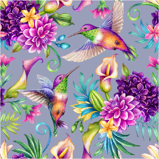 Humming bird organic jersey fabric for childrens clothing by Lottie & lysh