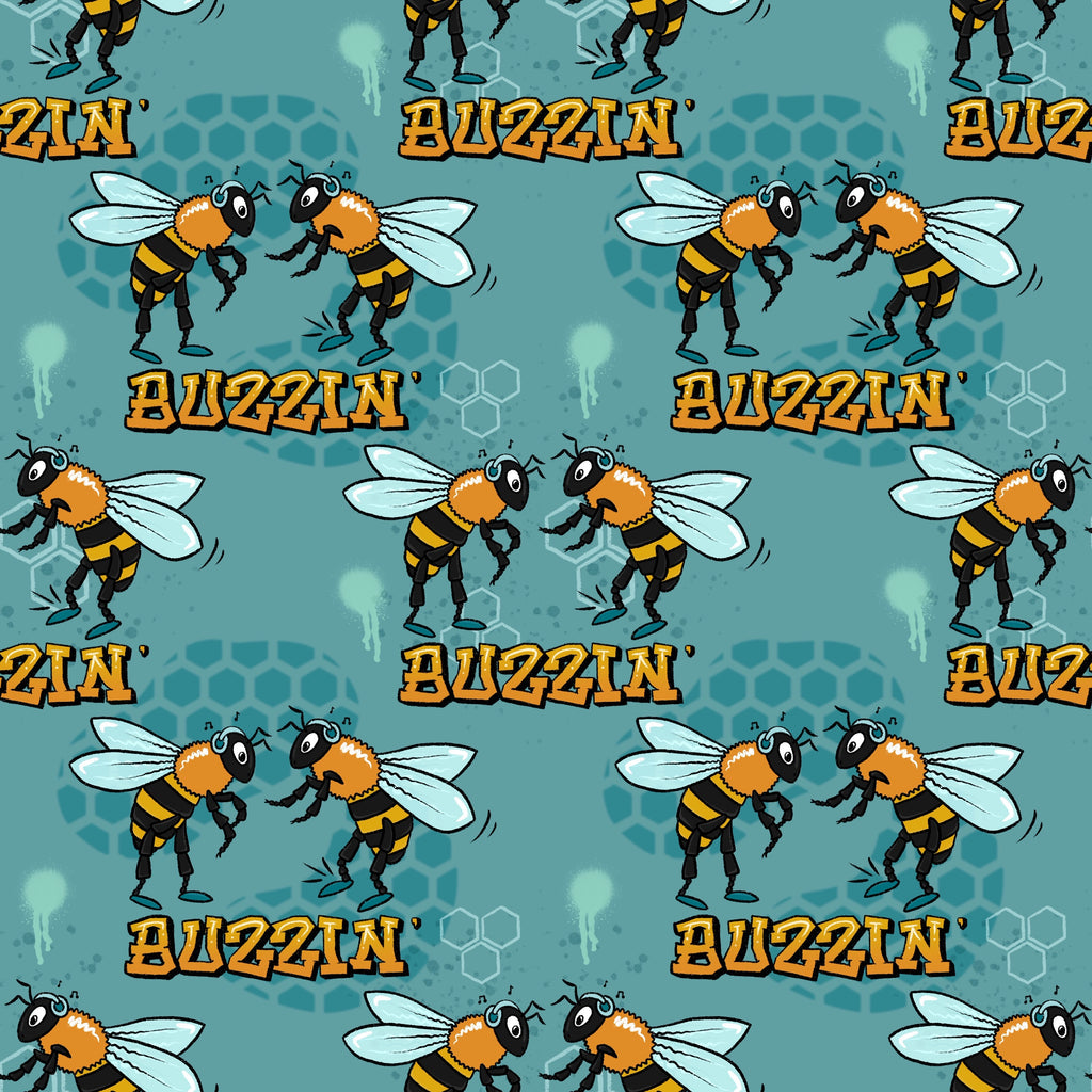 Buzzin bee print jersey fabric by lottie and lysh