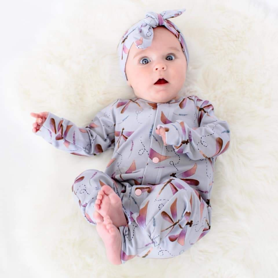 Handmade childrens clothing by Lottie & Lysh. Baby girl wearing organic dragonfly romper