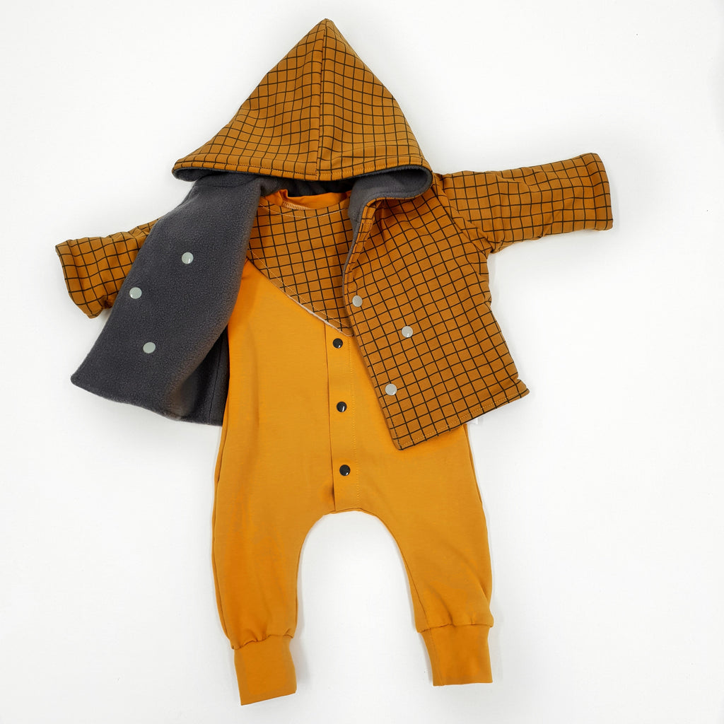 Mustard baby and child romper and mustard grid charlie jacket by lottie and lysh