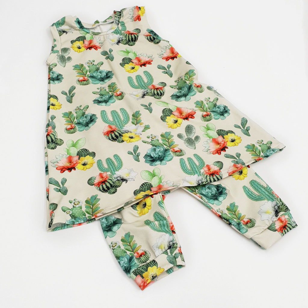 watercolour cactus vest dress and cropped leggings set