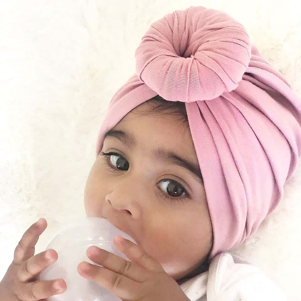 duksy pink baby turban by lottie and lysh