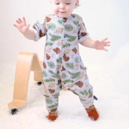 Long Leg popper romper in Organic Leaf print jersey