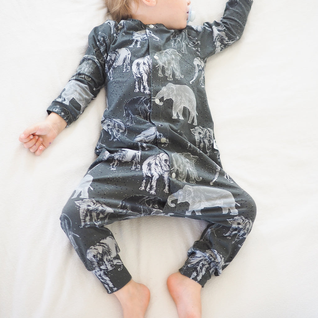 organic baby romper - elephants by Lottie & Lysh